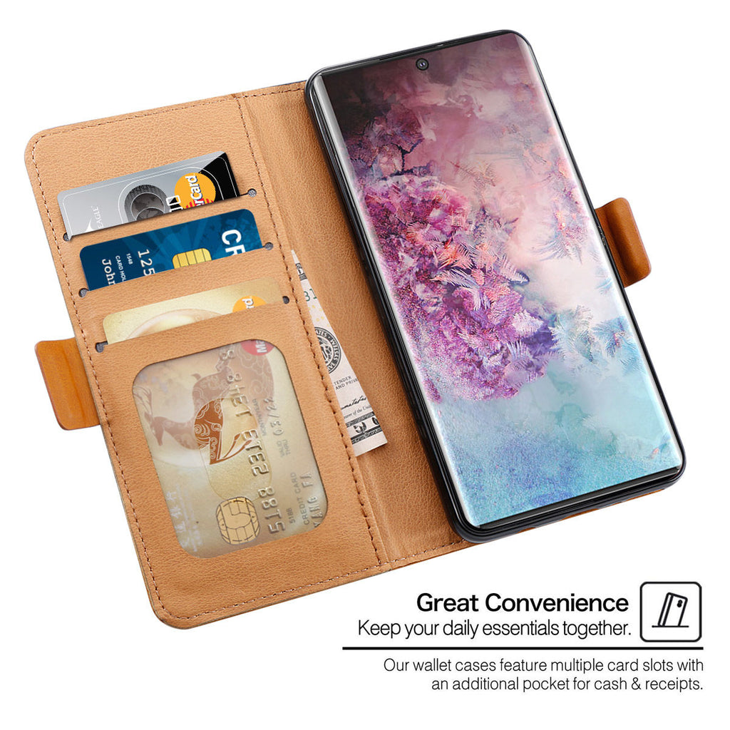 Leather Case for Galaxy Note 10 Plus Wallet Card Holder with Kickstand Black