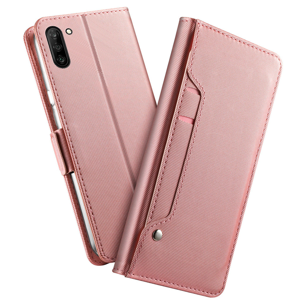 Galaxy Note 10 wallet case with card holler silky leather cover with mirror rose red