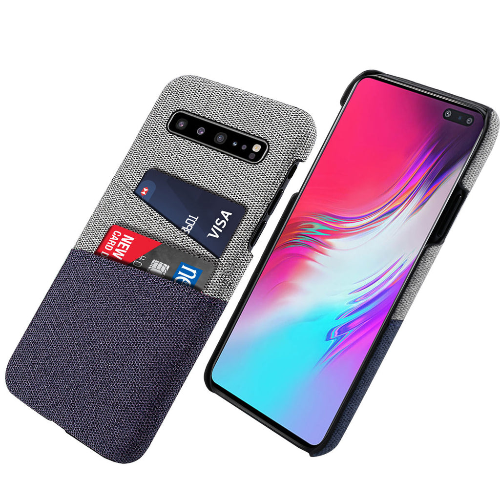 Galaxy S10 5G Card Case Ultra Thin Fabric Case Shockproof Cover Blue