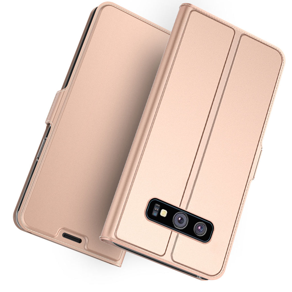 Samsung Galaxy S10 Leather Case Thin Flip Folio Stand Wallet Cover with Card Holders Protective Rose Gold