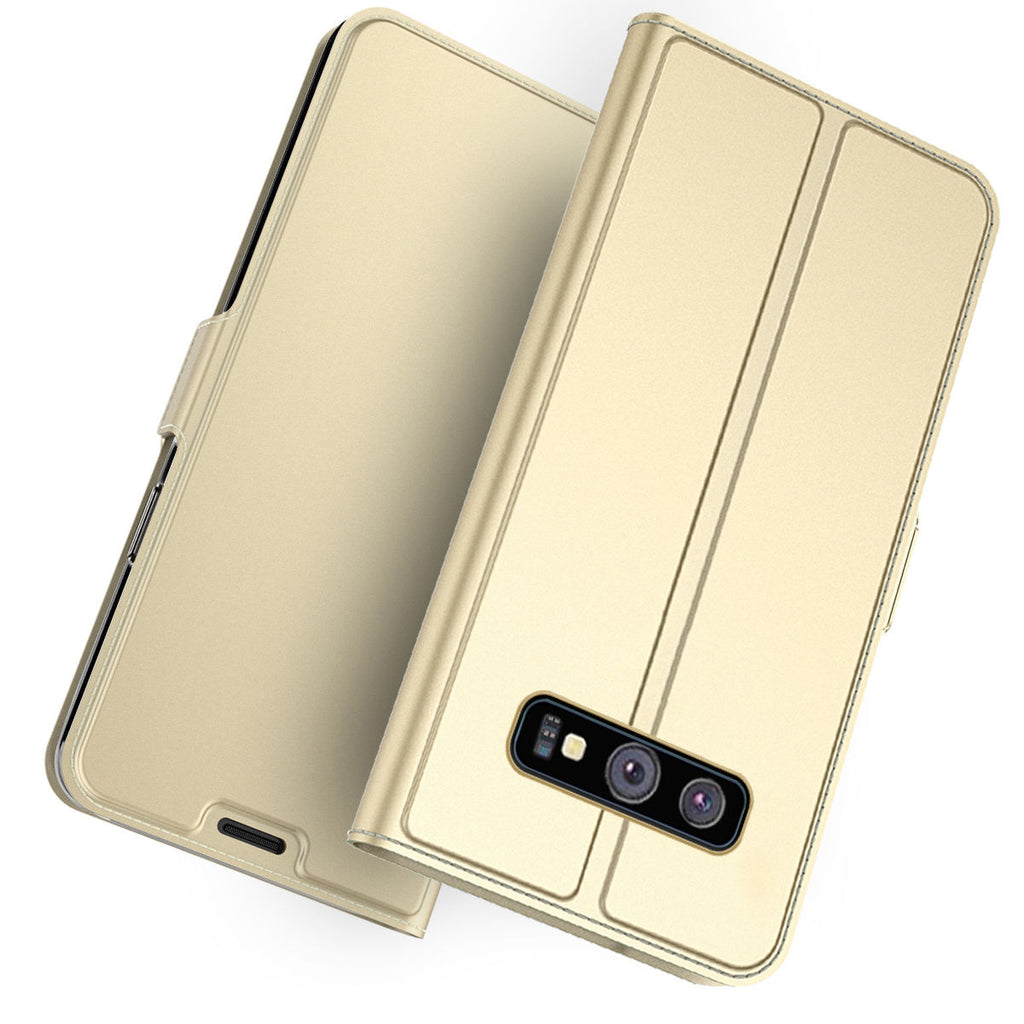 Samsung Galaxy S10 Wallet Case Thin Flip Folio Stand Wallet  Leather Cover with Card Holders Protective Golden