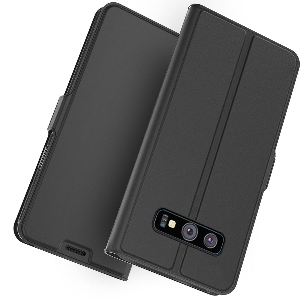 Samsung Galaxy S10 Leather Case Thin Flip Folio Stand Wallet Cover with Card Holders Protective Black