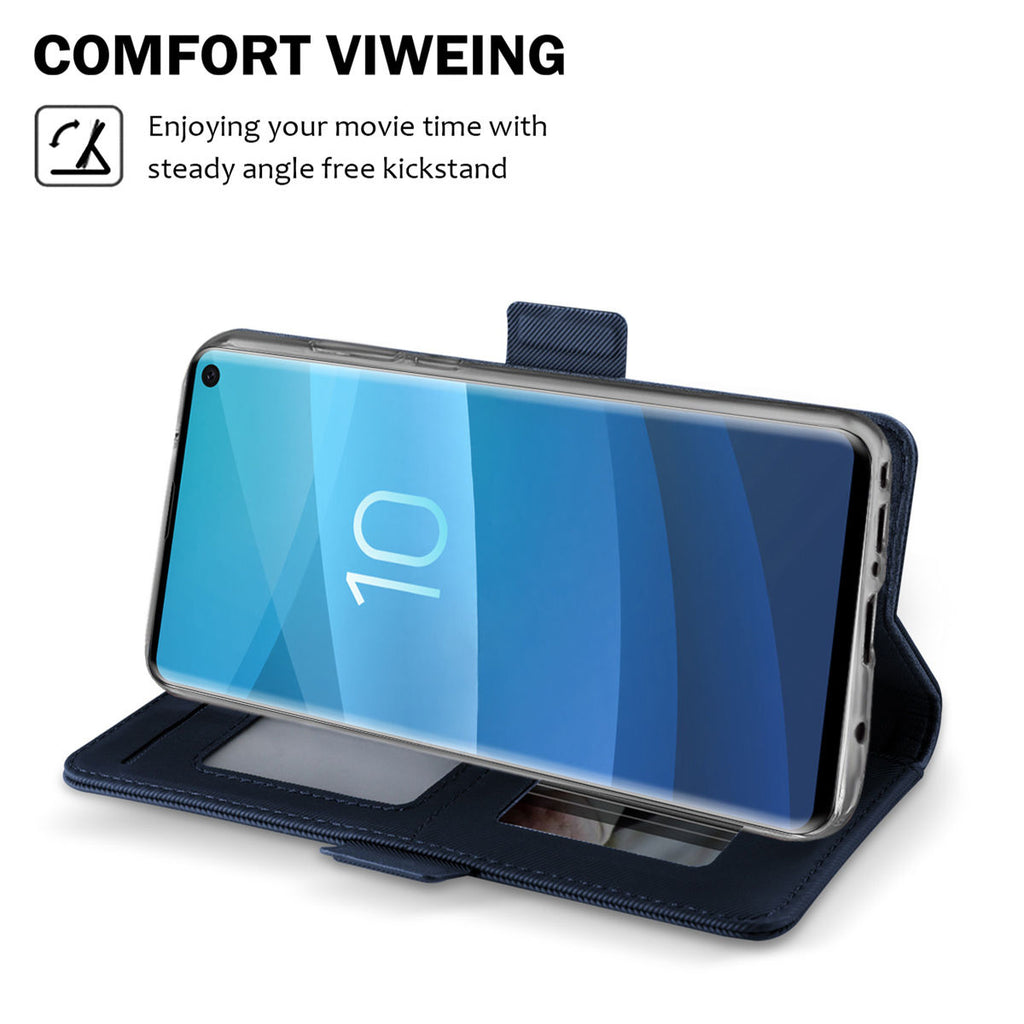 Galaxy S10 Case PU Leather Protective Wallet Case Magnetic Closure Stand Folio Cover Blue