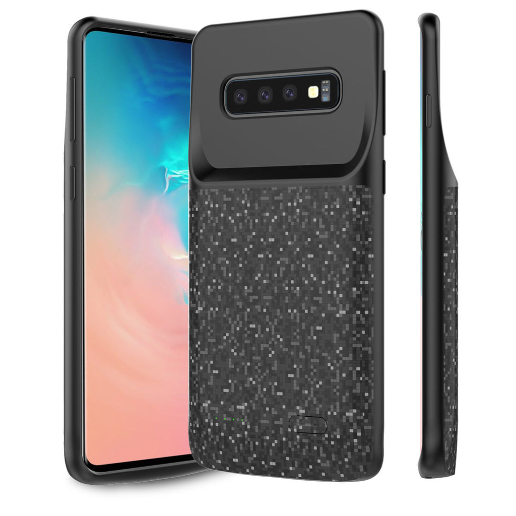 Galaxy S10 Plus Rechargeable 5000mAh Battery Case Power Bank Data Sync Black