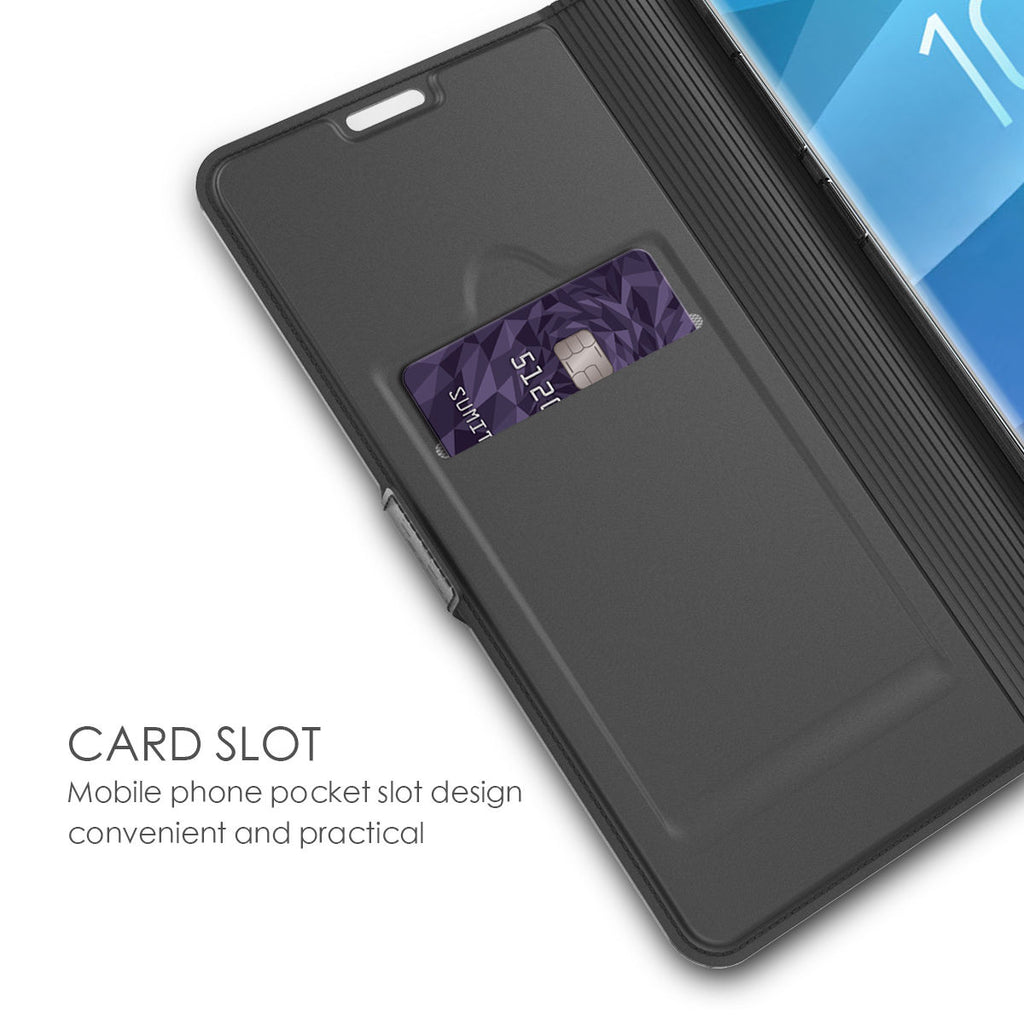 Samsung Galaxy S10 Plus Leather Case Flip Stand Wallet Cover Protection with Credit Card Holders Black