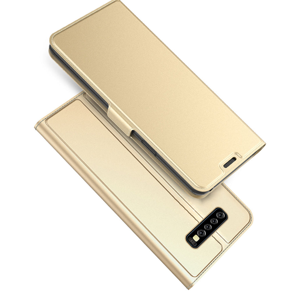 Samsung Galaxy S10 Plus Leather Case Flip Stand Wallet Cover Protection with Credit Card Holders Golden