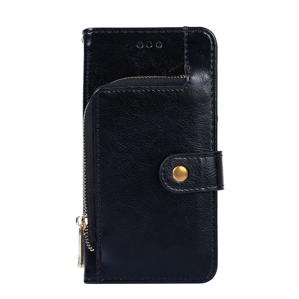 Samsung Galaxy S10 Plus Wallet Case PU Leather Zipper Design Flip Stand Cover with Card Slots Black