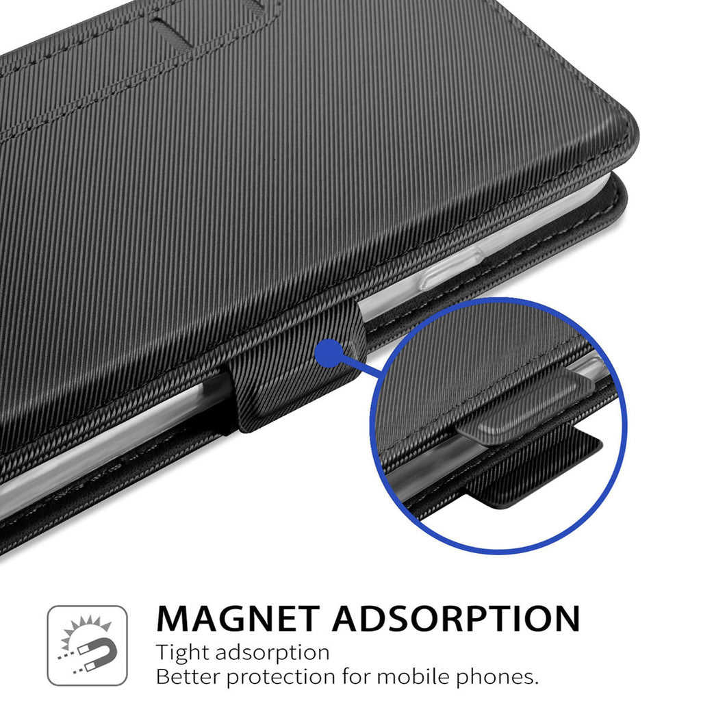 S10e Wallet Case PU Leather Wallet with Magnetic Closure Card Slot Kickstand Flip Cover Black