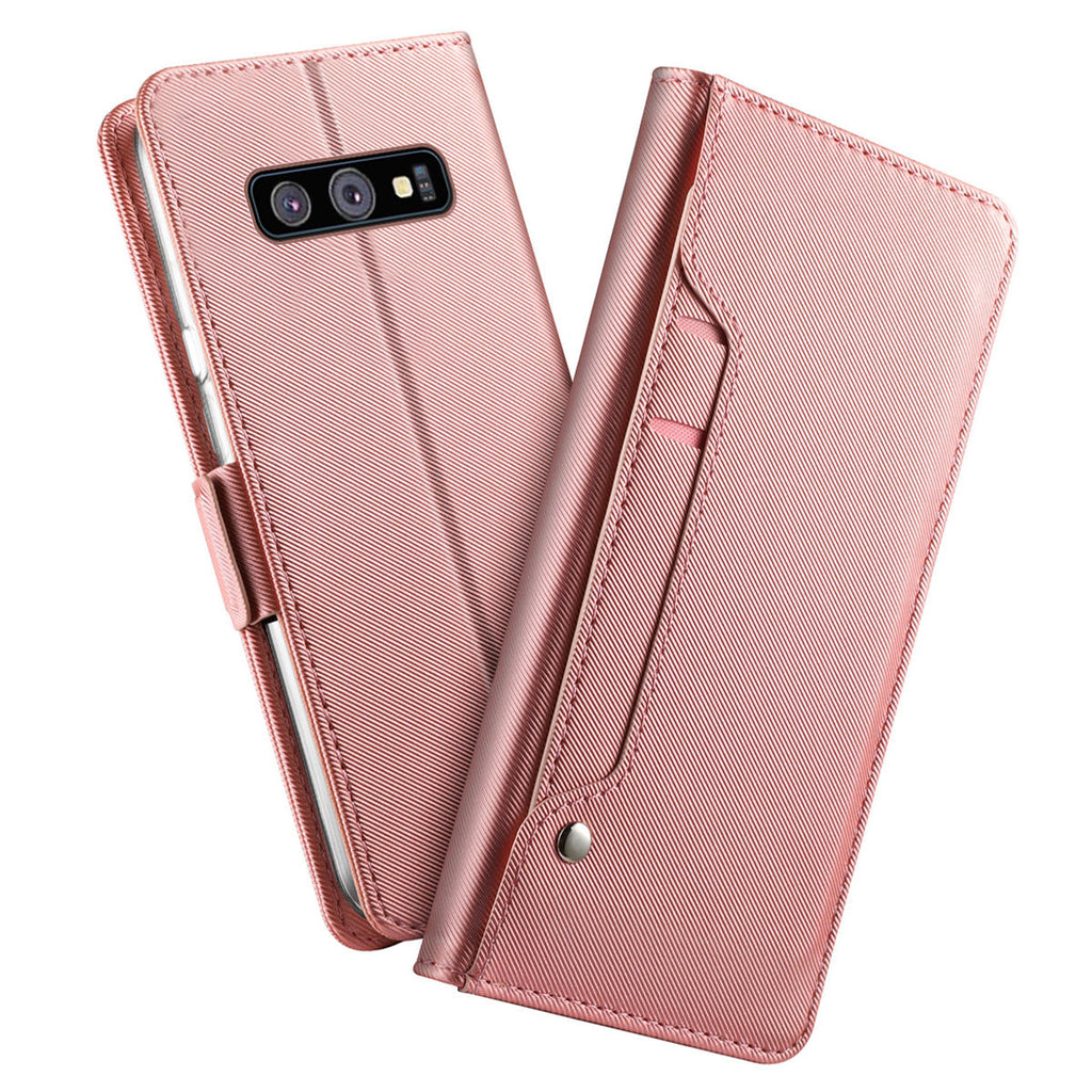 Galaxy S10e Case Magnetic Closure Credit Card Slot Slim PU Leather Wallet Cover Rose Red
