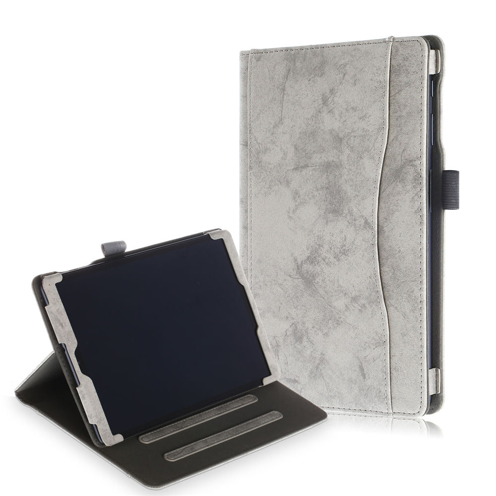 Folio Leather Cover for Galaxy Tab A 10.1 2019 SM-T510/T515 with Card Cash Holder Grey