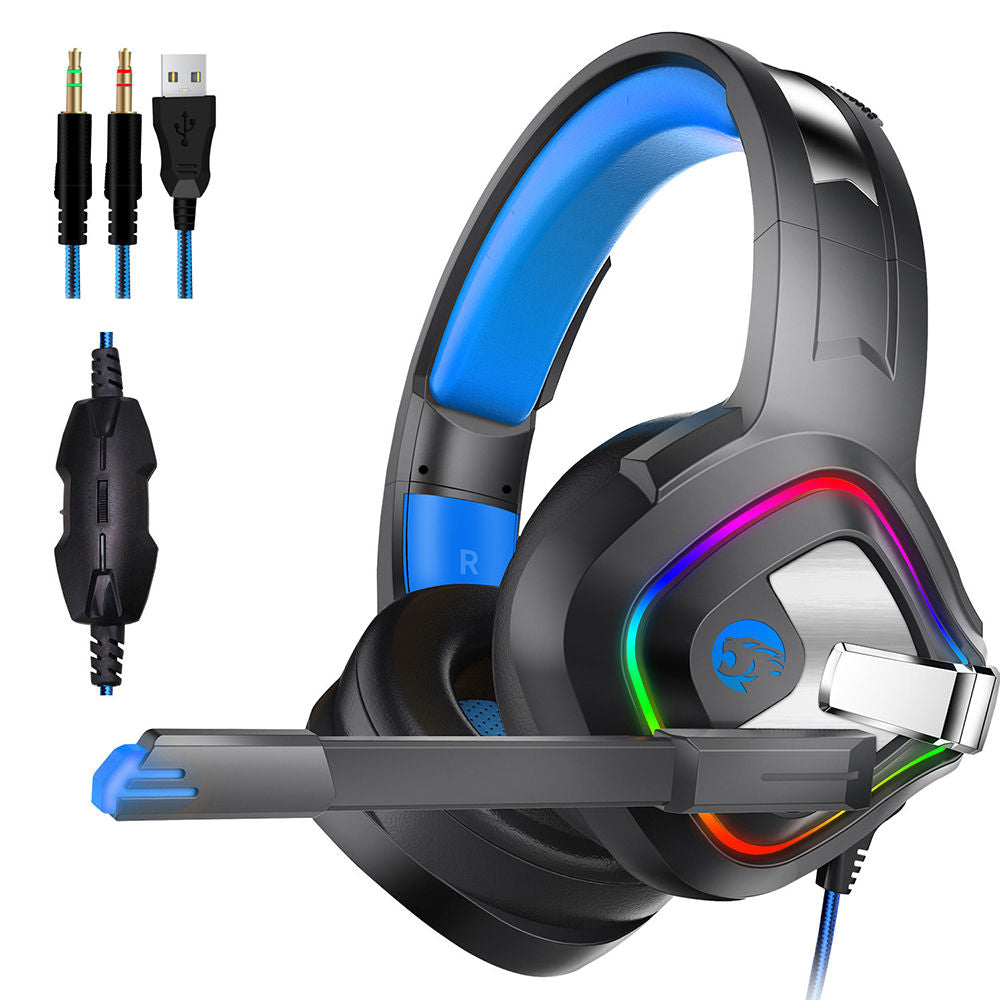 Gaming Headset 4D Stereo Headphone for PS4 with Mic Noise Canceling LED Light