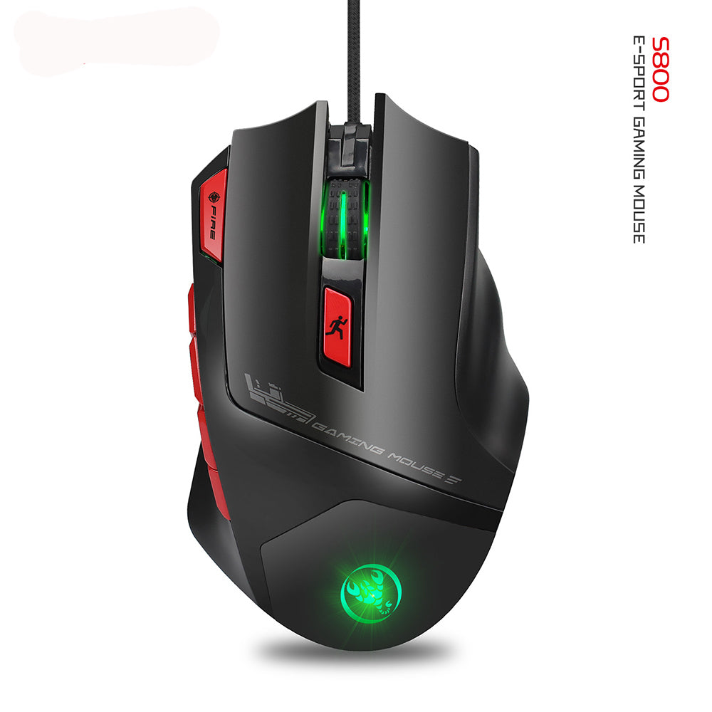 Gaming Mouse S800 6000 DPI Programmable RGB Light Wired Mouse Black