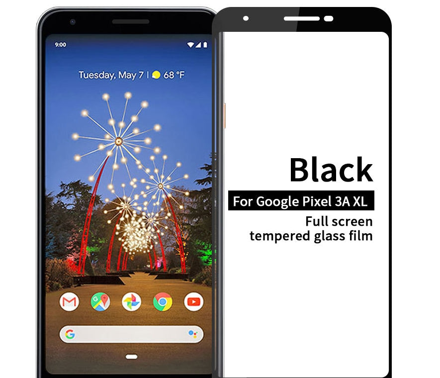 Google Pixel 3a XL Screen Protector Anti Scratch Black Tempered Glass Full Screen Film