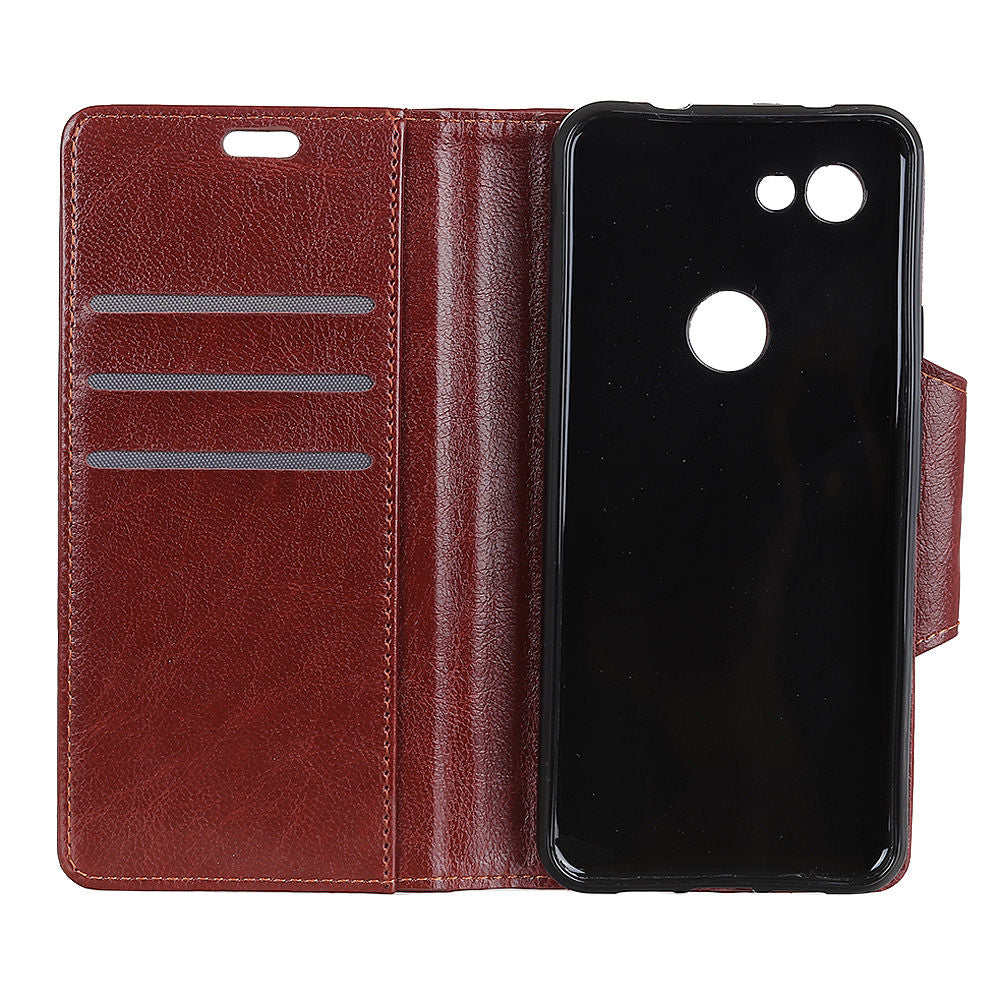 Google Pixel 3 Lite XL Folio Wallet Case with Card Slots Magnetic Clasp Closure Brown