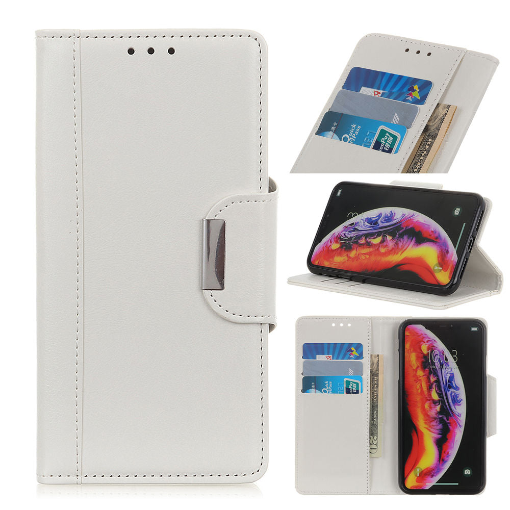 Google Pixel 3 Lite XL Folio Stand PU Leather Case with Card Slots Kickstand White