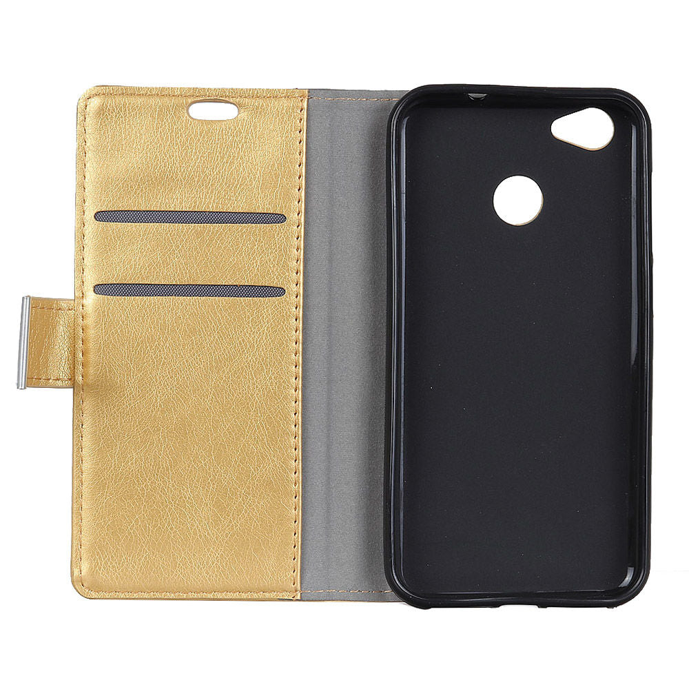 Google Pixel 3 Lite XL PU Leather Case Kickstand Flip Folio Case with Card Slots Gold