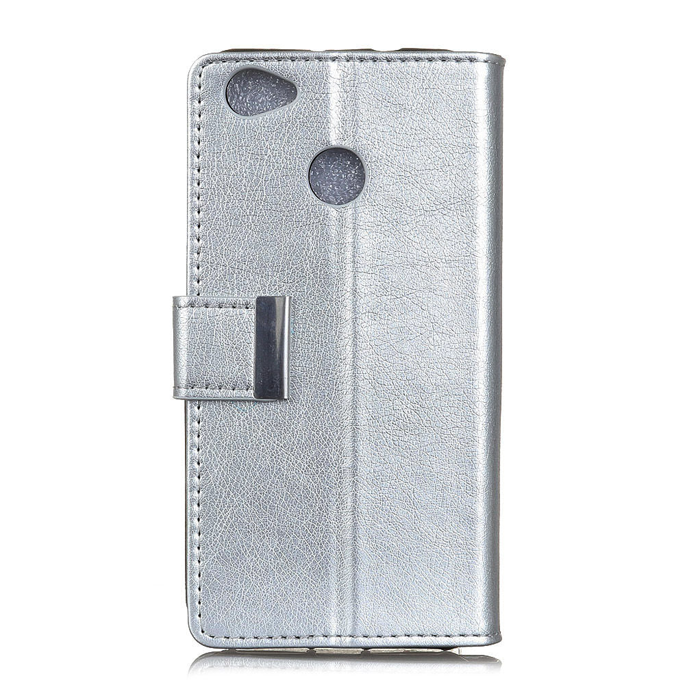 Google Pixel 3 Lite XL Wallet Case with Card Slots & Stand Magnetic Clasp Closure Silver