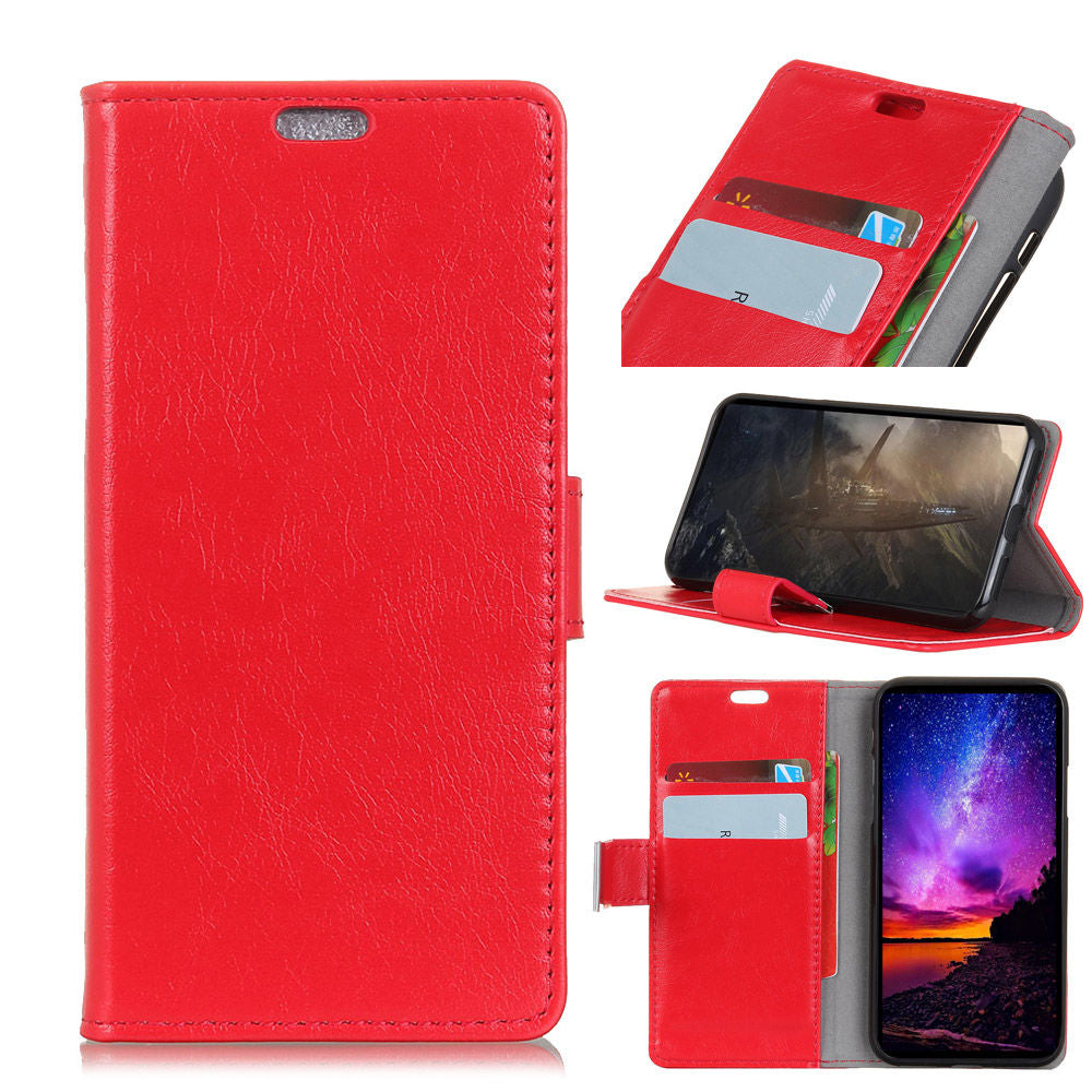 Google Pixel 3 Lite XL PU Leather Flip Wallet Case Ultra Thin Antislip Protective Cover Red