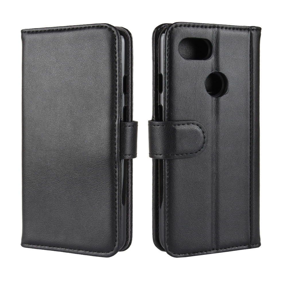 Google Pixel 3a XL Leather Case Flip Wallet Case with Card Slots & Kickstand Black