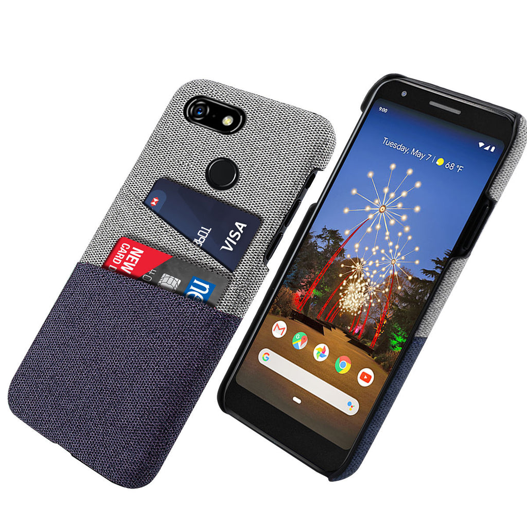 Google Pixel 3a Case with Card Slots Phone Protective Case Blue
