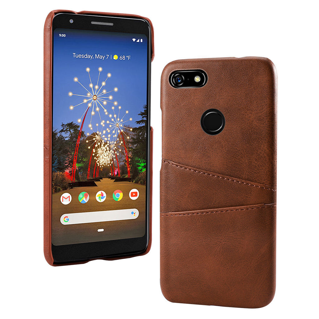 Google Pixel 3a XL Case Dustproof Leather Phone Cover with Card Slots Brown