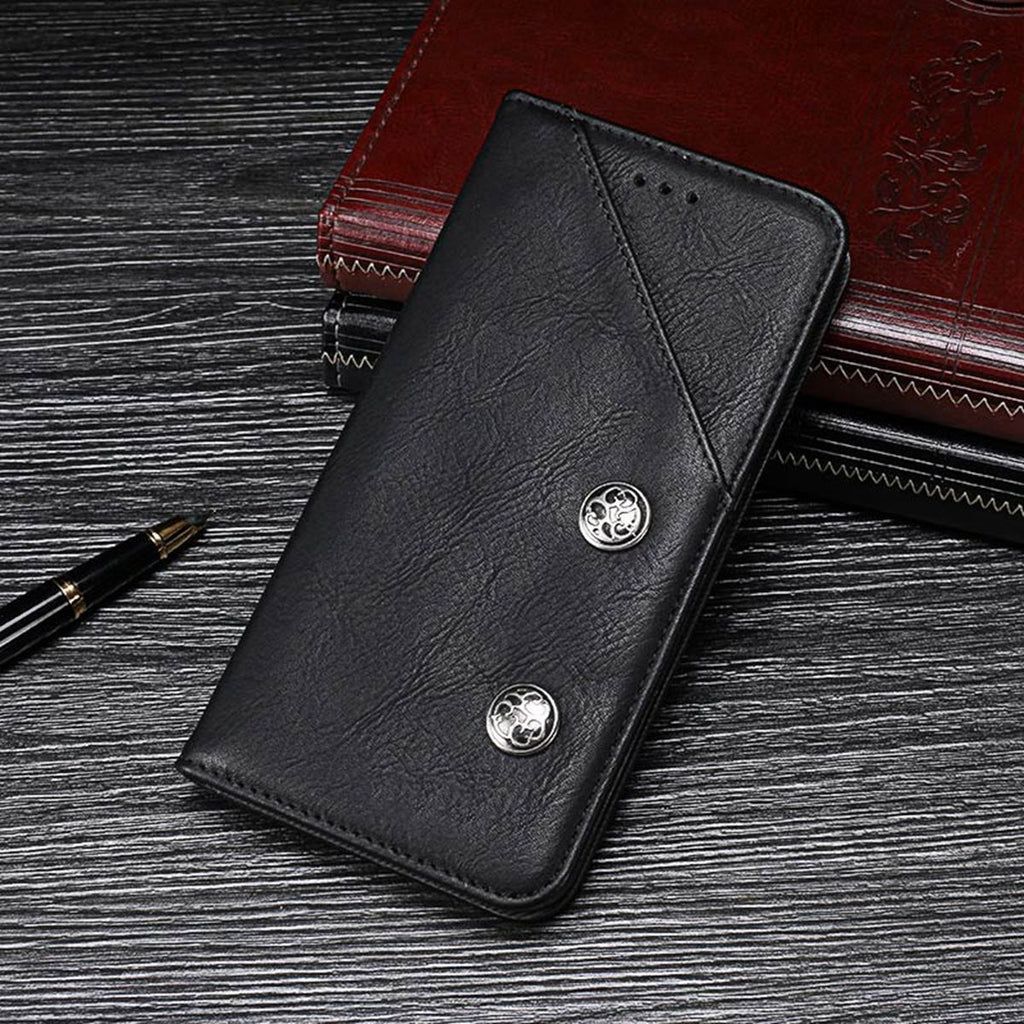 Pixel 3a XL Leather Case Vintage Wallet Flip Case with Card Slot Black