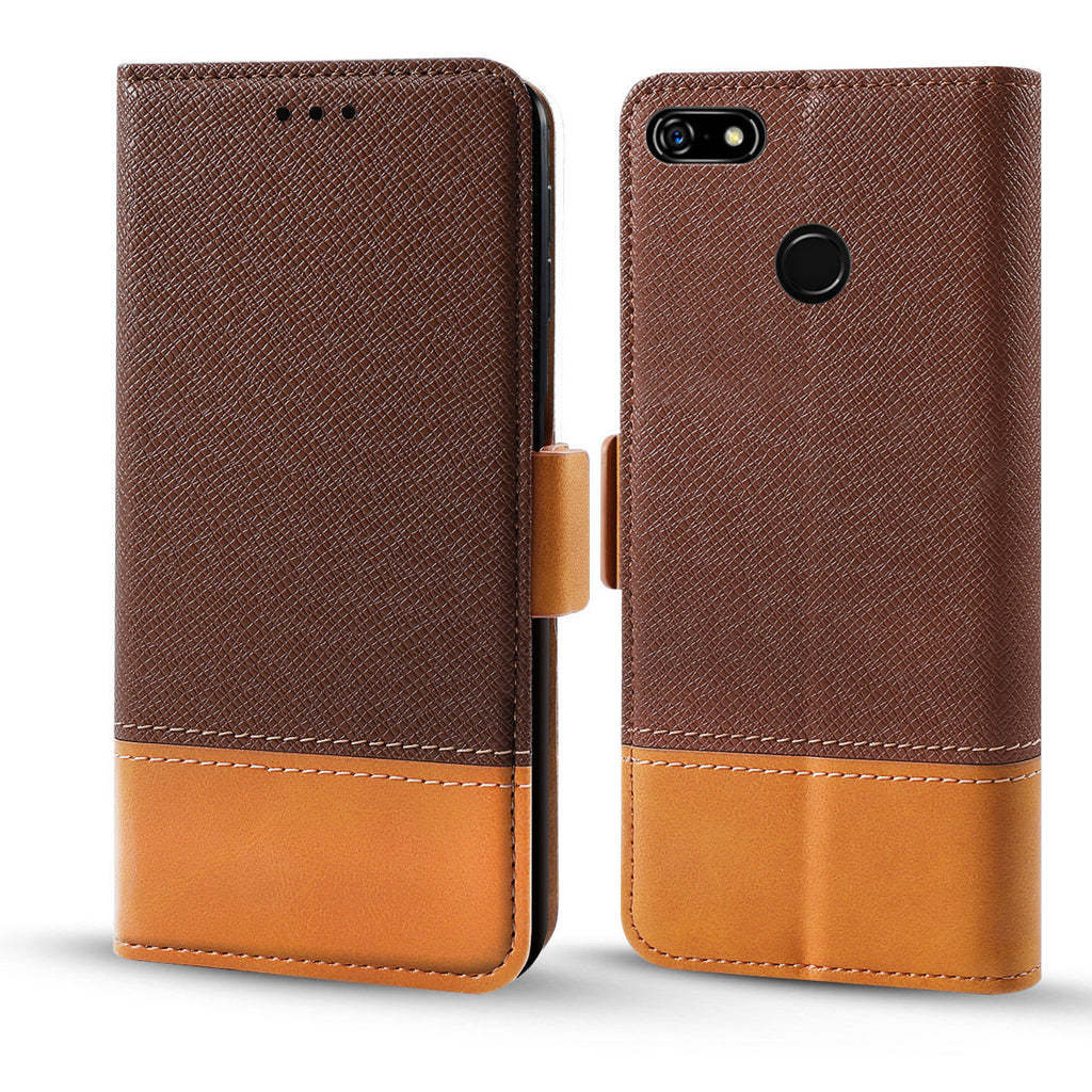 Google Pixel 3a XL Wallet Case with Card Slot Contrast Color Leather Case Brown