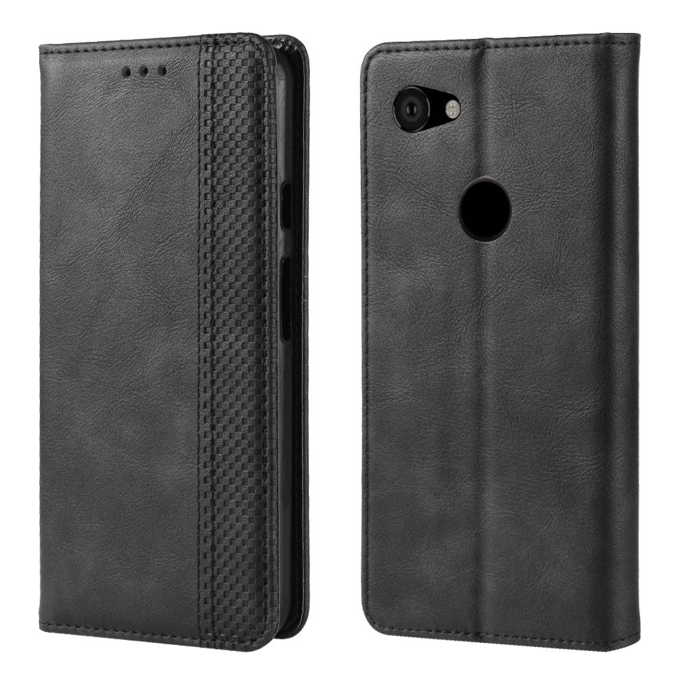 Google Pixel 3a XL Wallet Case Flip Stand Leather Cover with Card Holder Black