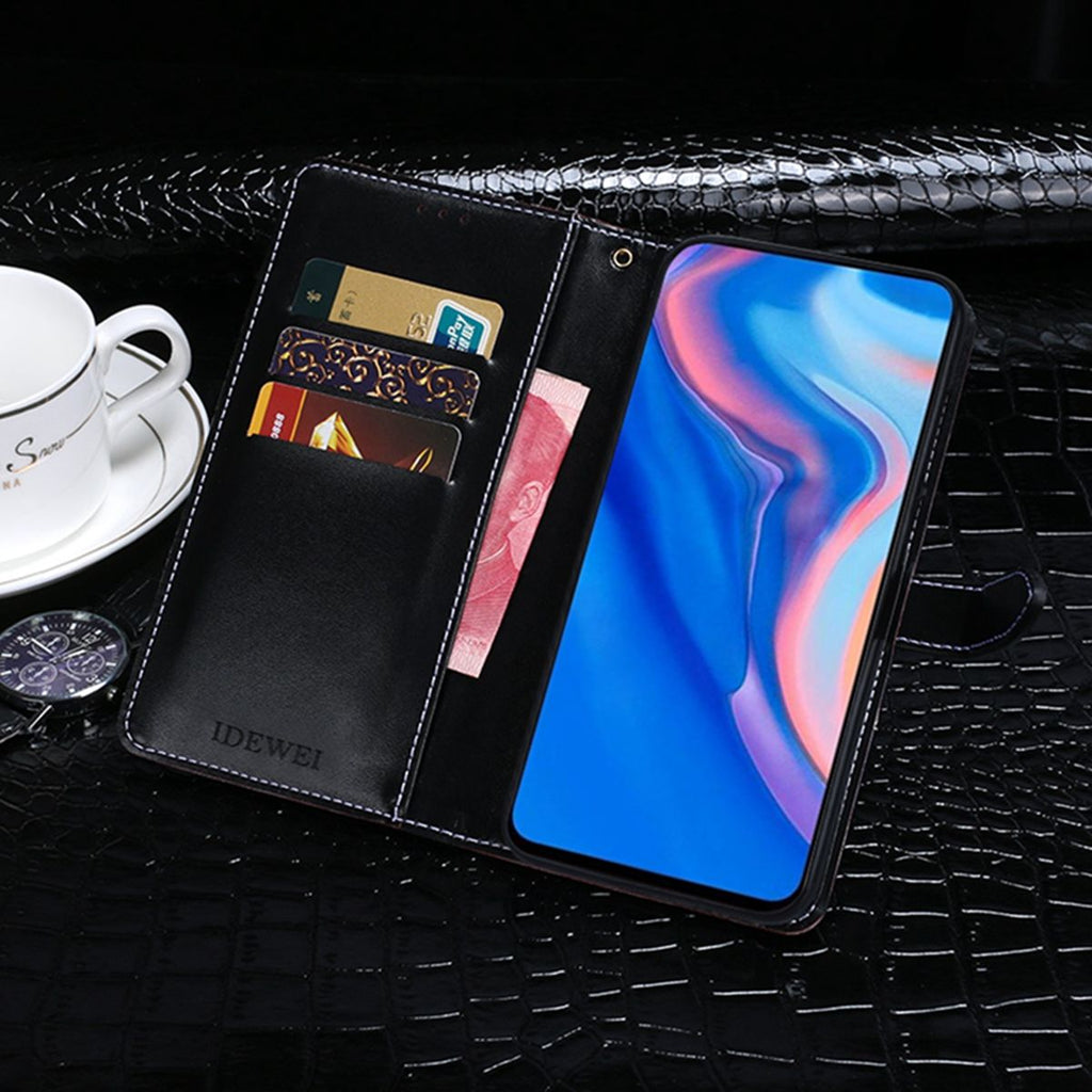 HUAWEI Y9 PRIME 2019 PU Leather Case Card Wallet Slim Fit Flip Cover Kickstand Dark Blue