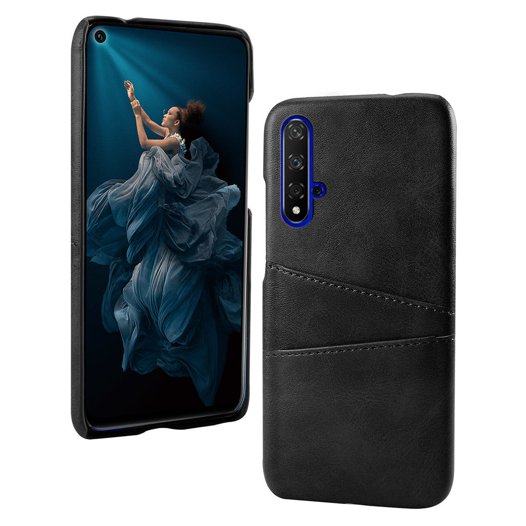 Huawei Honor 20 Case Leather with Credit Card Holder Black