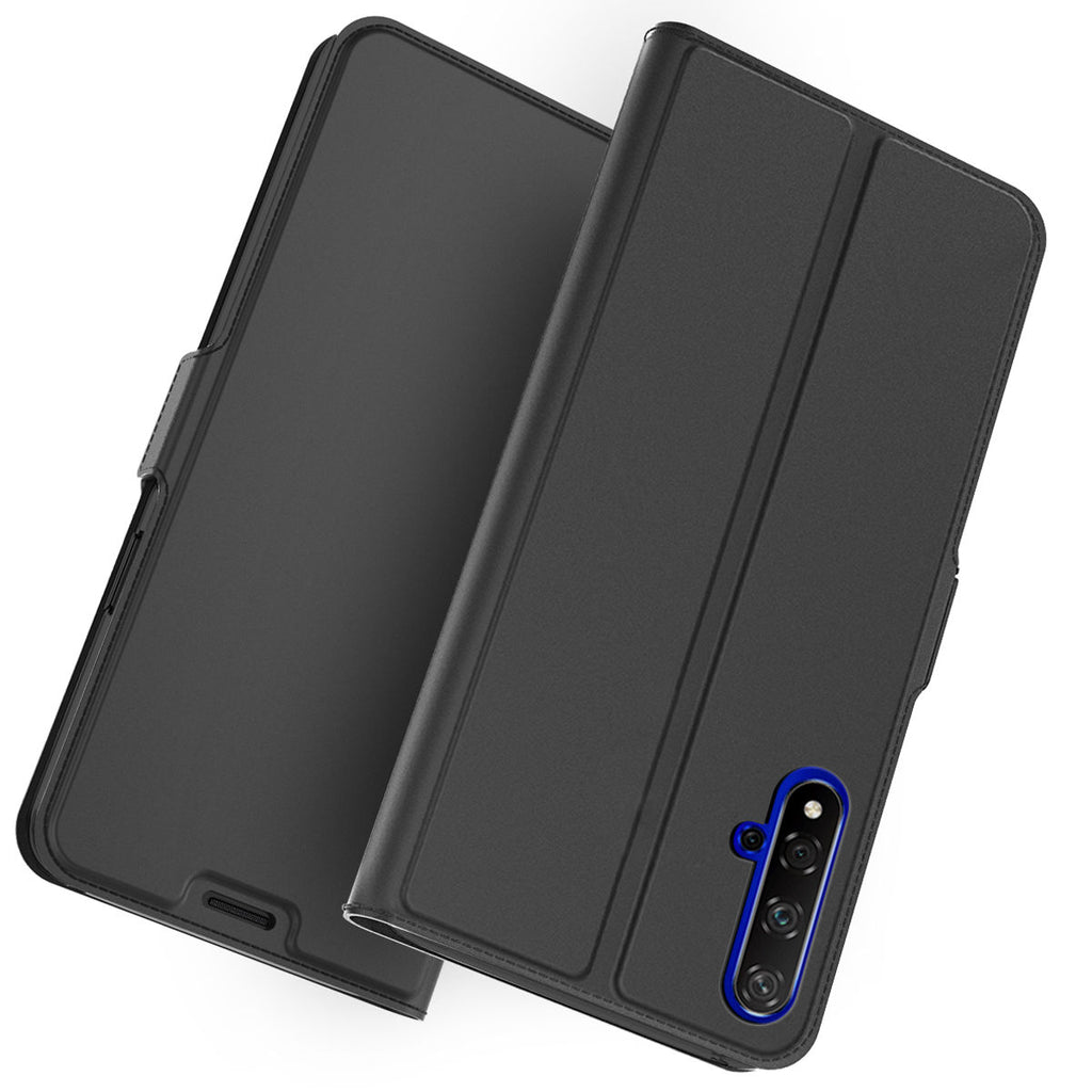 Huawei Honor 20 Case Ultra Thin Leather Wallet Case with Kickstand Card Slot Black