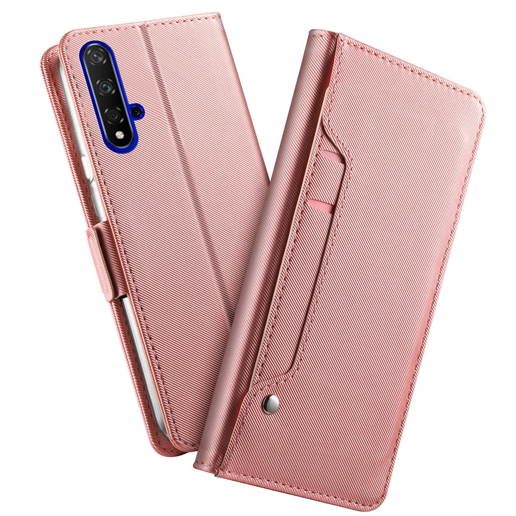 Huawei Honor 20 Leather Wallet Case with Kickstand Mirror for Women Rose Red