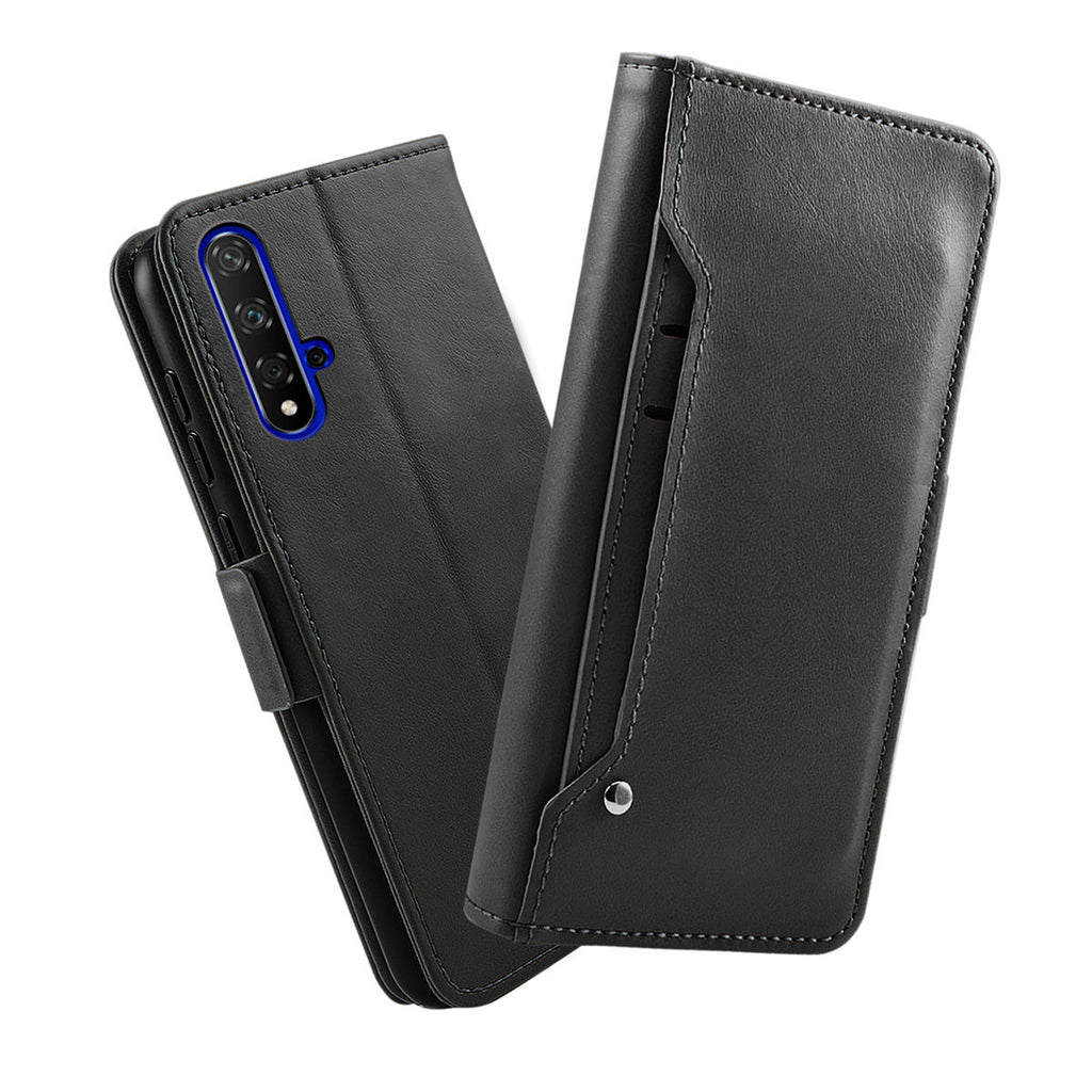 Huawei Honor 20 wallet case shock-proof leather cover with card holder black