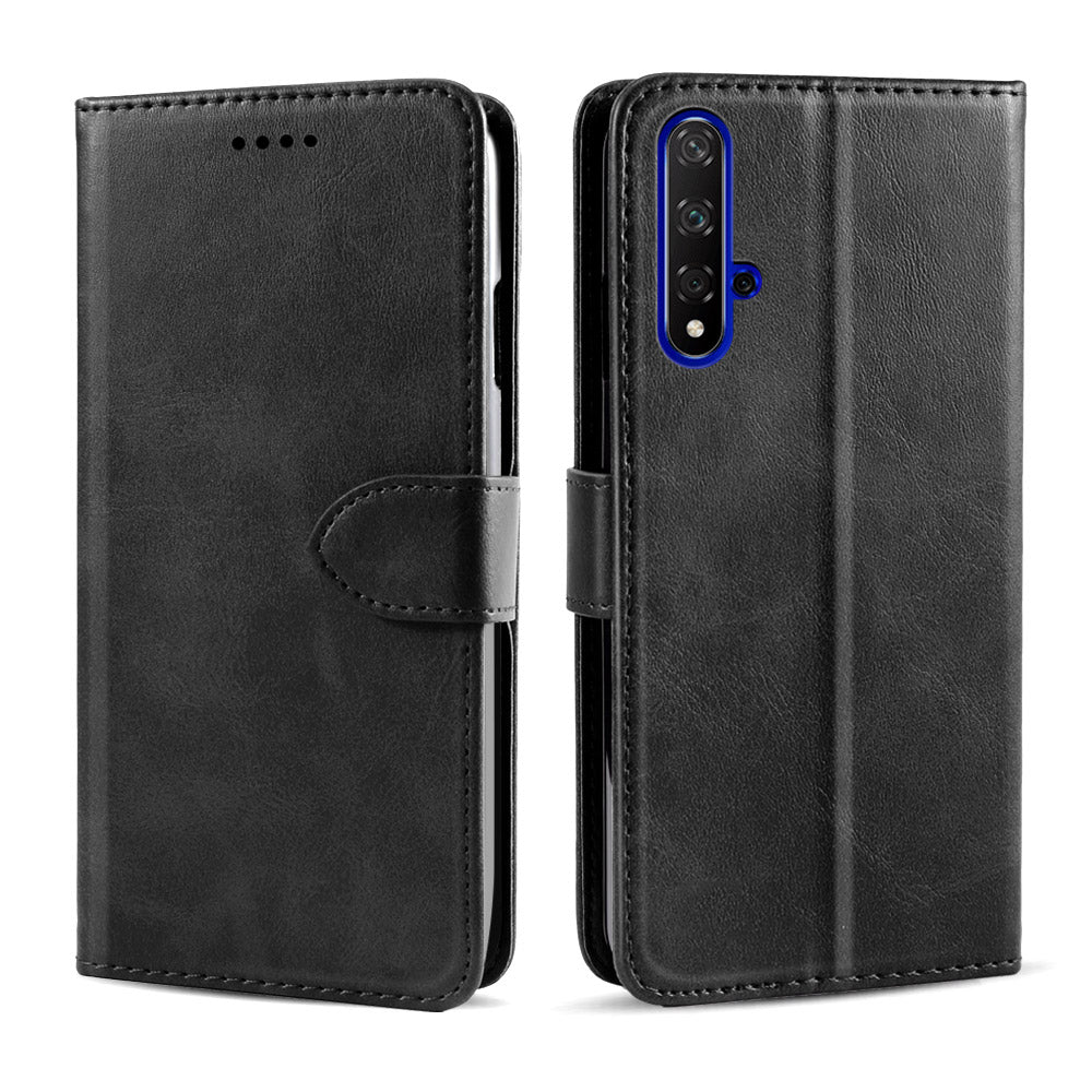 Huawei Honor 20 Wallet Leather Case Flip Stand Cover Magneitc Closure Black