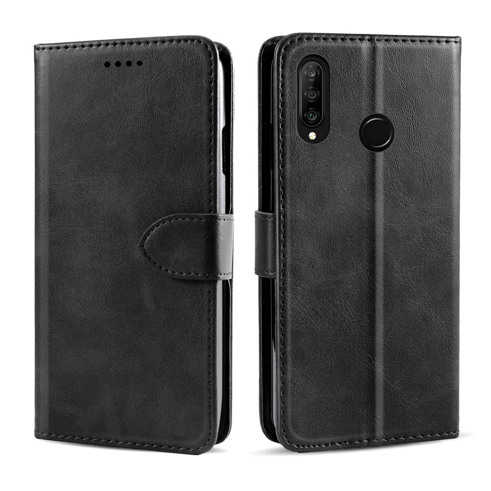 Huawei Honor 20 lite Wallet Case PU Leather Flip Stand Cover with Card Slots Black
