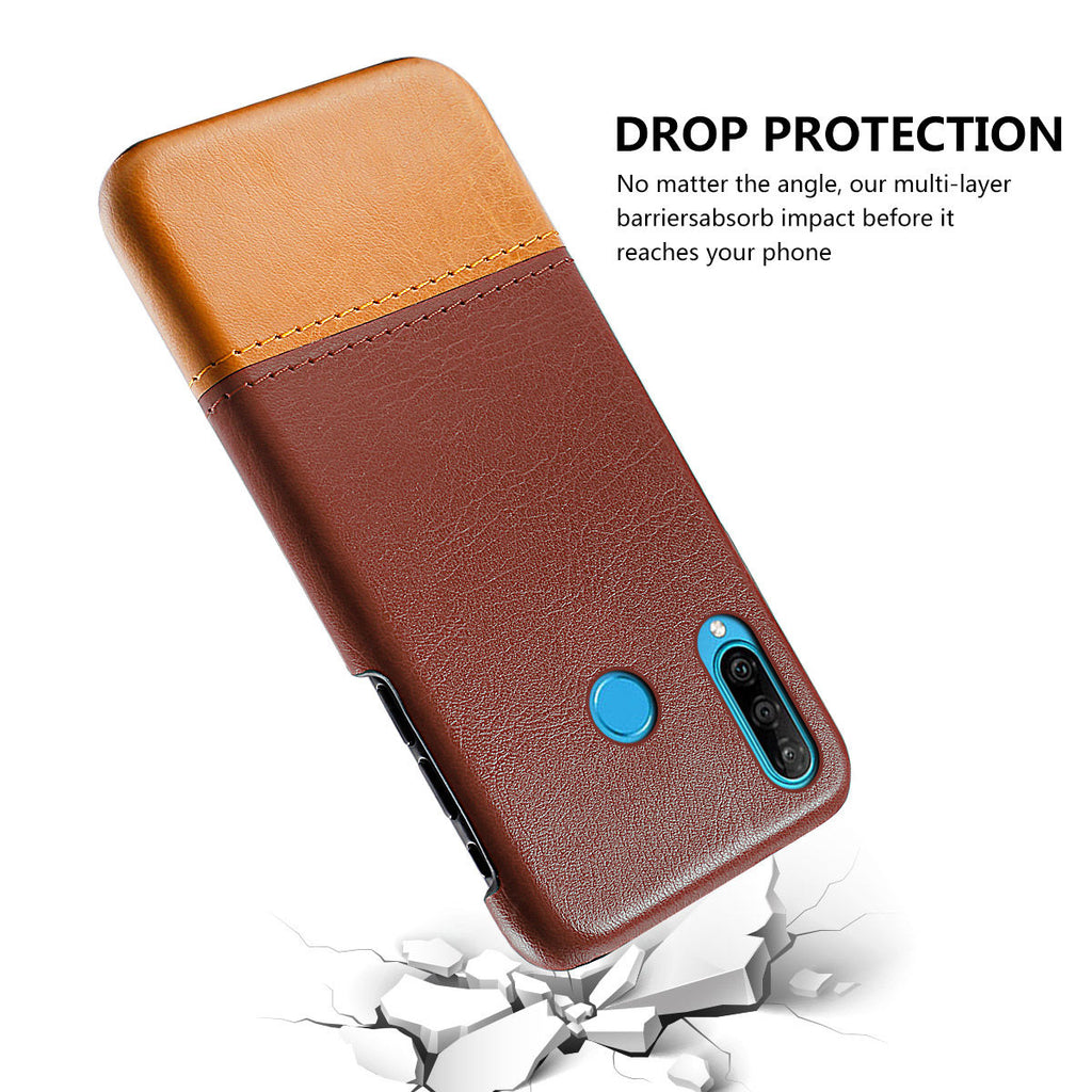 Huawei Nova 4e PU Wallet Back Case Splicing Card Slot Slim Cover Brown-light brown