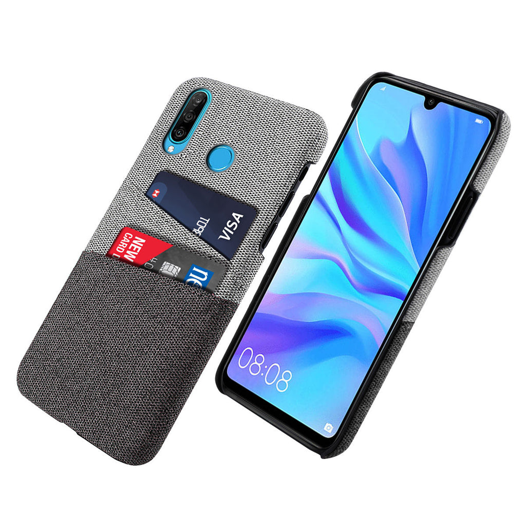 Slim Card Case Huawei Nova 4E Fabric Protection Cover with Card Slot Black