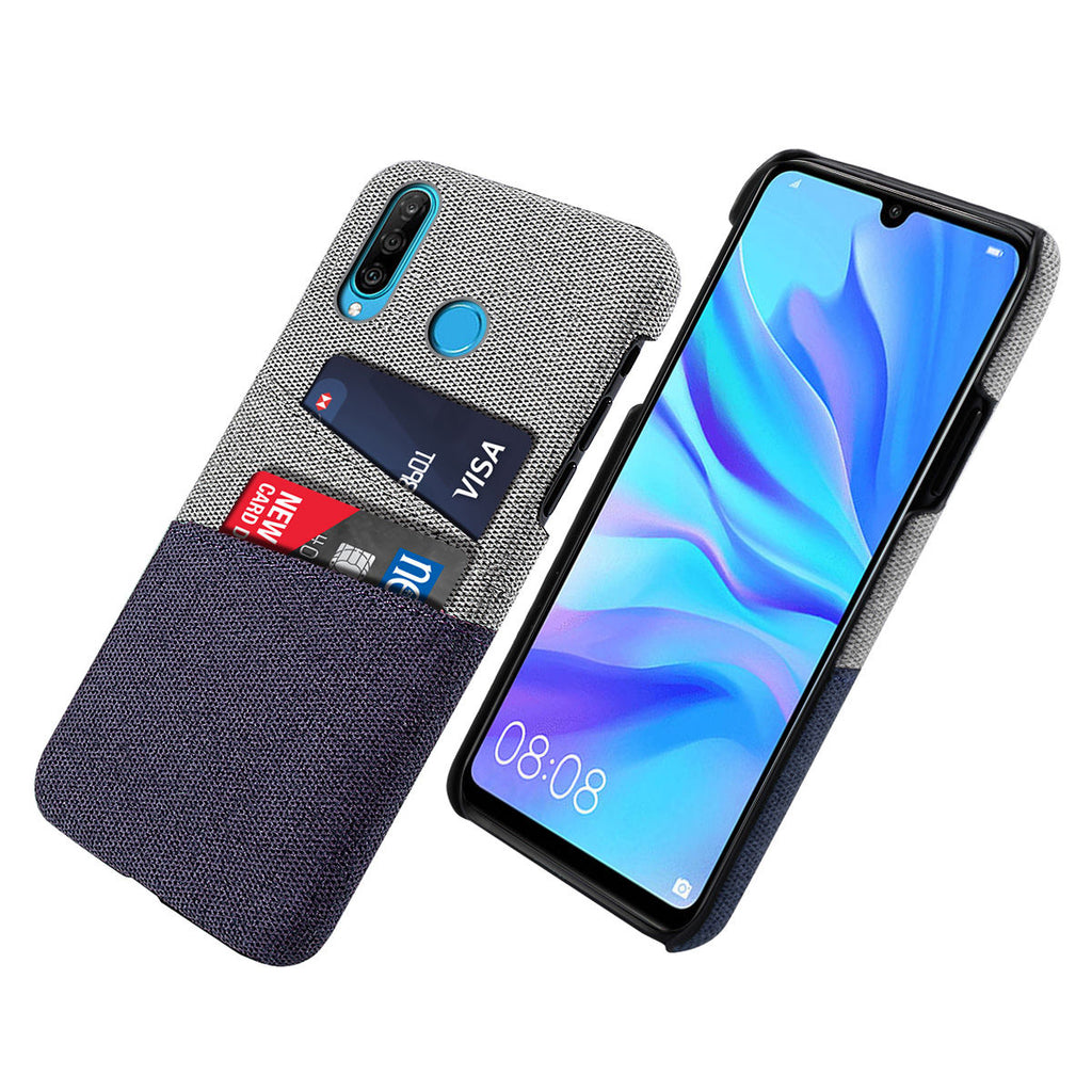 Huawei Nova 4E Slim Case Dual Card Slot Fabric Hard Back Cover Blue