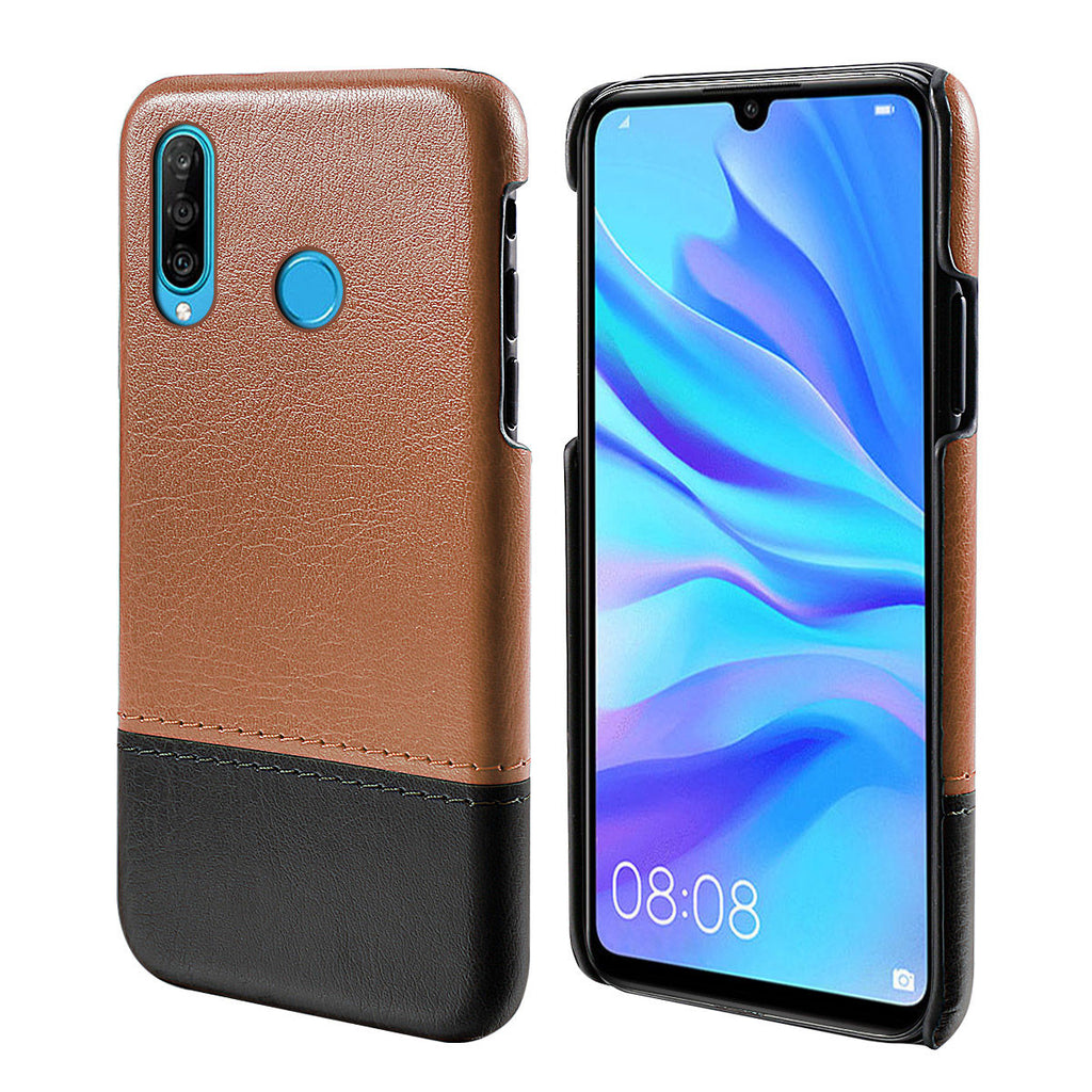 Huawei Nova 4e Wallet Phone Case Slim PU Leather Back Protective Cover Brown-black