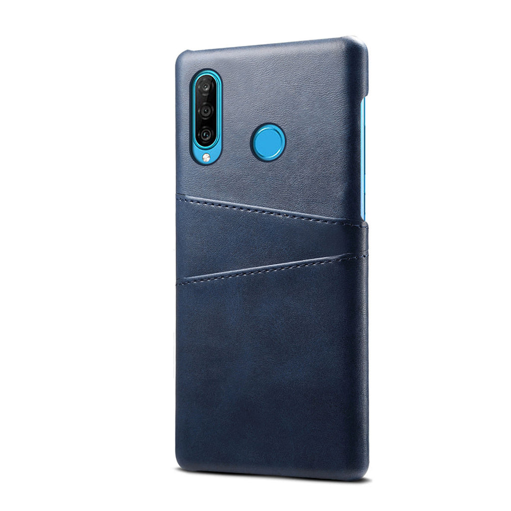 Huawei Nova 4E Wallet Case Slim PC Hard Cover with 2 Card Holder Slots Blue
