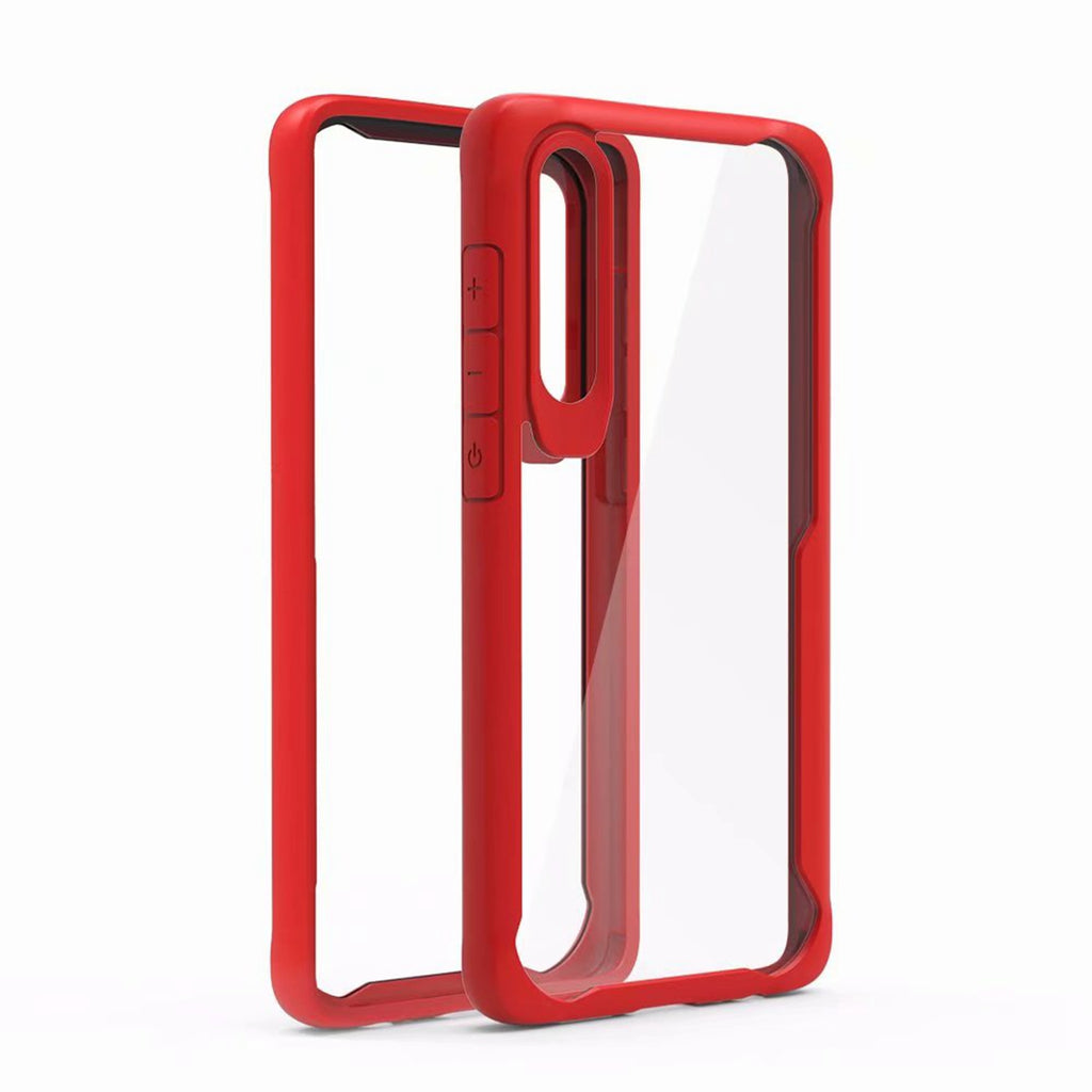 Huawei P30 Crystal Clear Back Case Soft TPU Drop Resistant Protective Cover Red