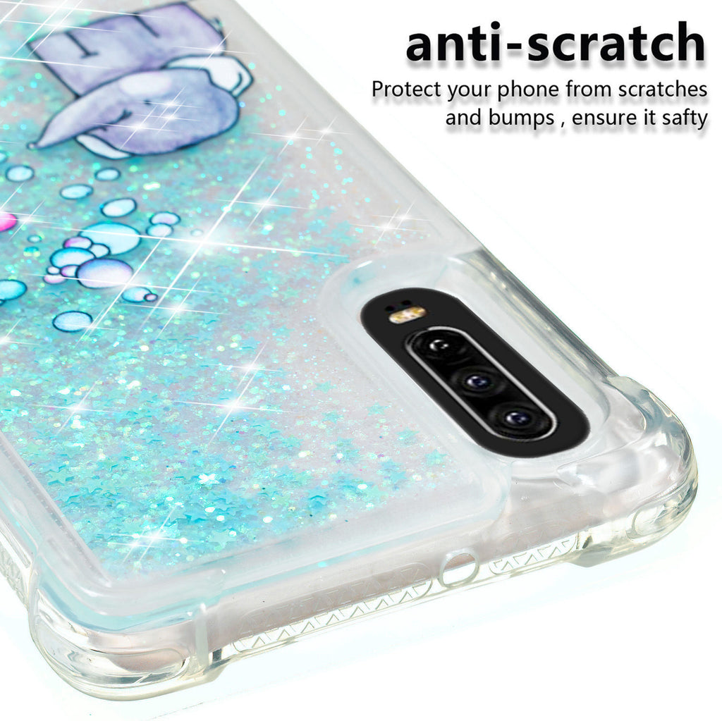 Huawei P30 Glitter Floating Sparkle Liquid Cover TPU Shock-ptoof Case Elephant