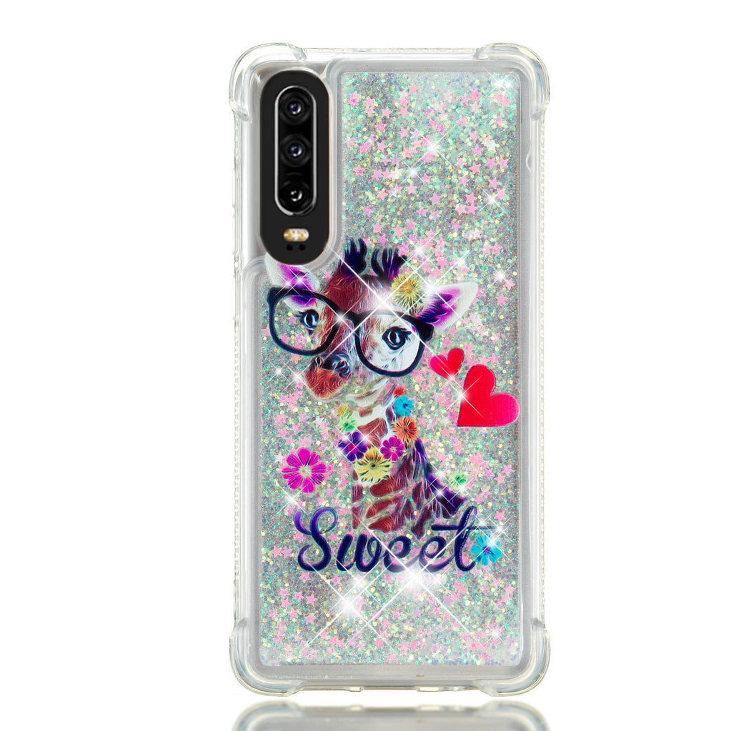 Huawei P30 Glitter Case Flowing Luxury Sparkle Liquid TPU Bumper Case Deer
