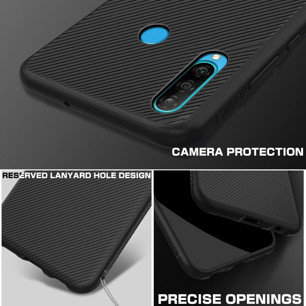 Huawei P30 Lite Case Back Cover Soft TPU Scratch Resistant Protective Shell Anti-slip Phone Black