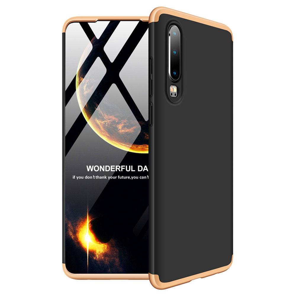 Huawei P30 Case Ultra Hybrid Slim Fit Shock Absorption Detachable Cover Black+Gold