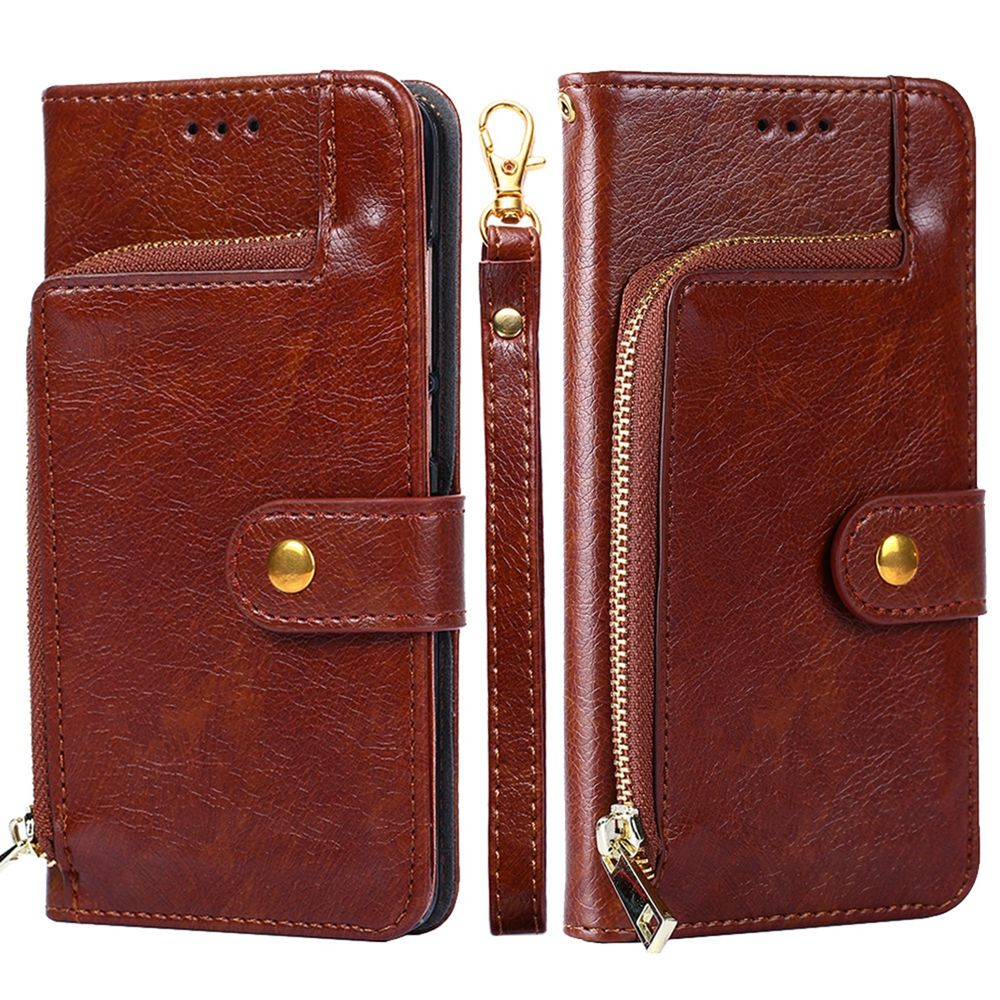 Huawei P30 Wallet Cover Zipper PU Leather Design Case Flip Stand with Card Slots Brown