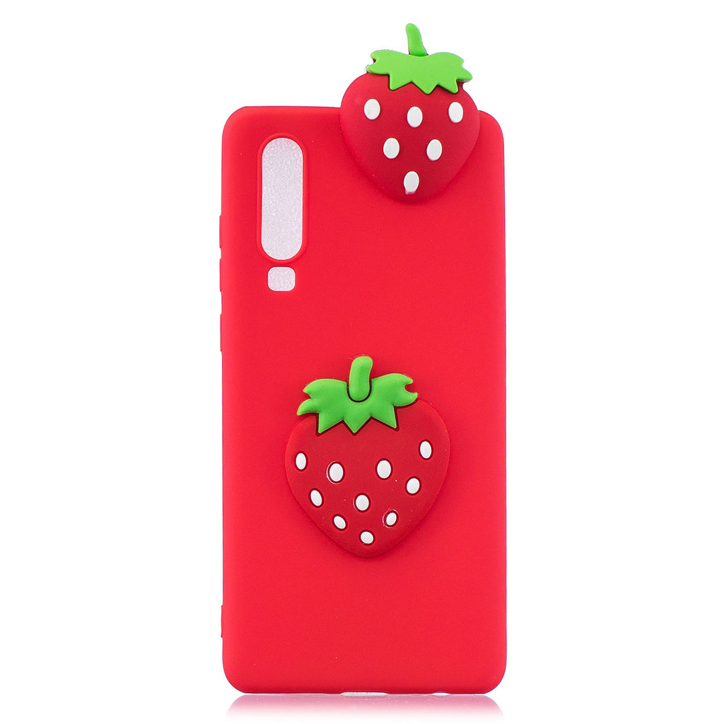 Vivid 3D Cartoon Huawei P30 Red Cover Furit Stylish Protective Case Strawberry