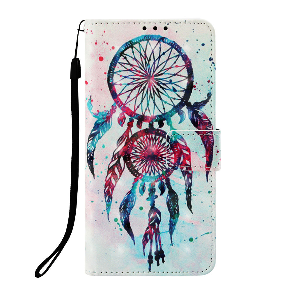 Huawei P30 Pro Leather Wallet Case with Kickstand Flip Cover 3D Drawing Wind Chime