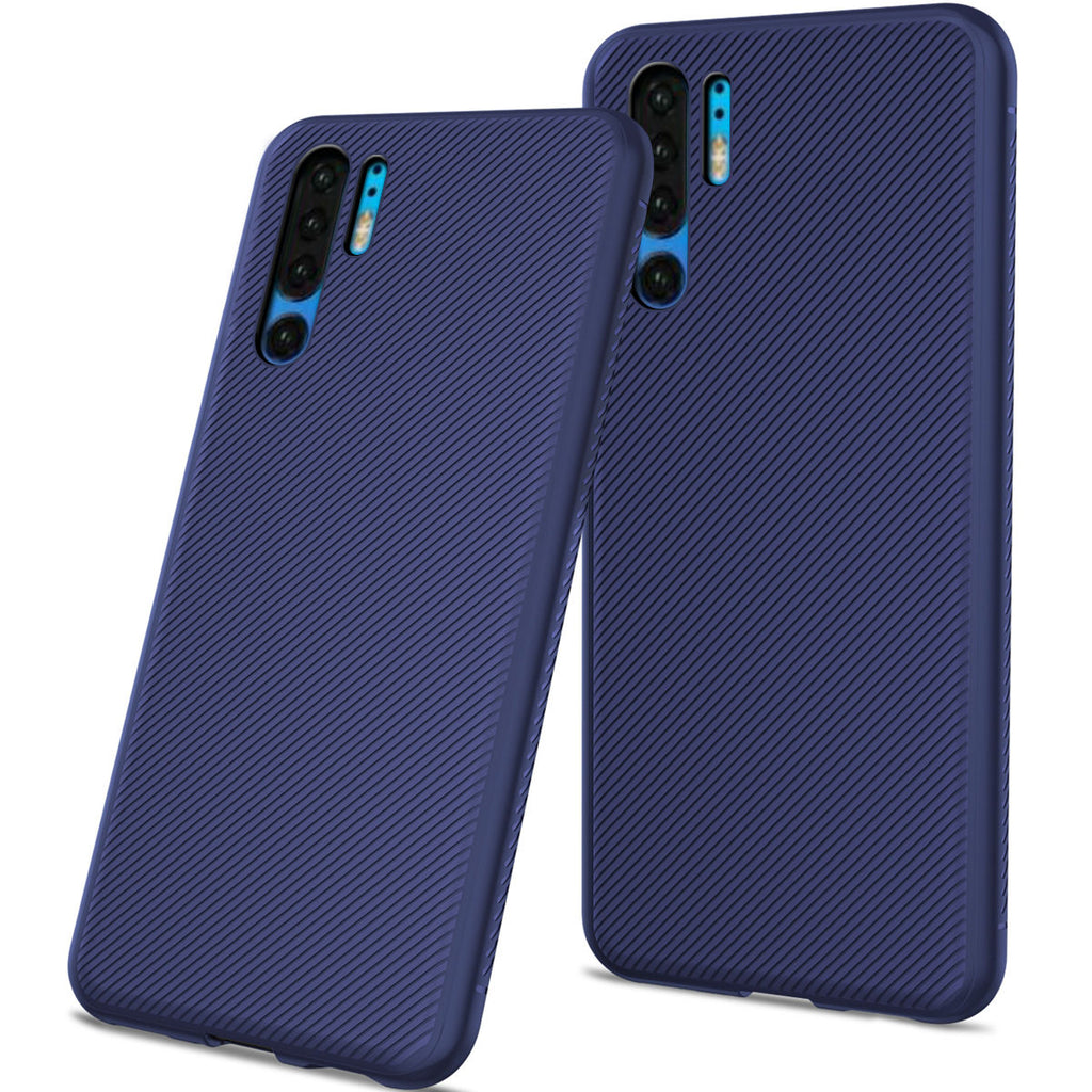 Huawei P30 Pro Case Carbon Fiber Fashion Soft TPU Scratch Resistant Protective ShellPhone Cover Dark Blue