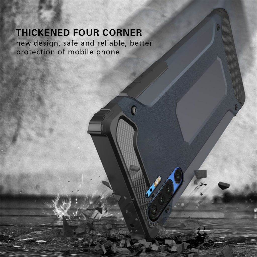 Huawei P30 Pro Case Rugged Carbon Fiber Bumper Shell Anti Drop Cover Black